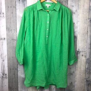 J. Crew Lime Green Linen Popover Tunic